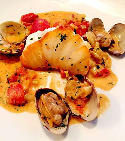 Pan Seared Cod with Tomato Clam Nage