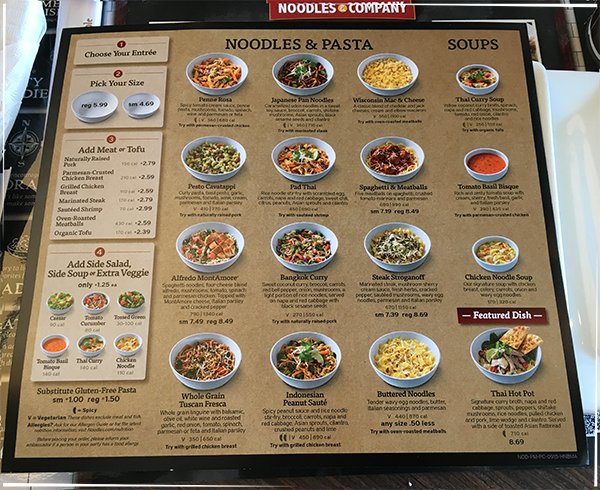 Noodles and Company Menu