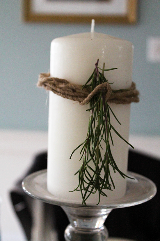 Rosemary Candle Close-up