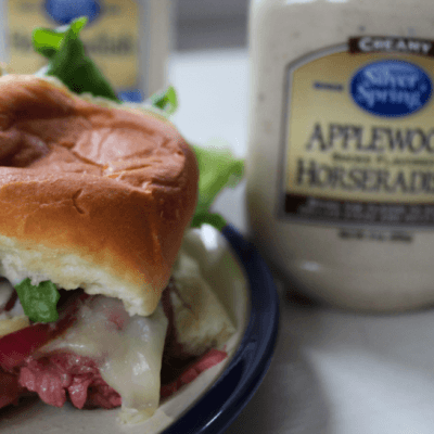 Steak and Cheese Sliders with Caramelized Onions and Applewood Smoke Flavor Horseradish Sauce