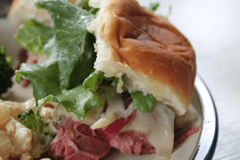 Steak and Cheese Sliders with Applewood Smoke Flavored Horseradish Sauce