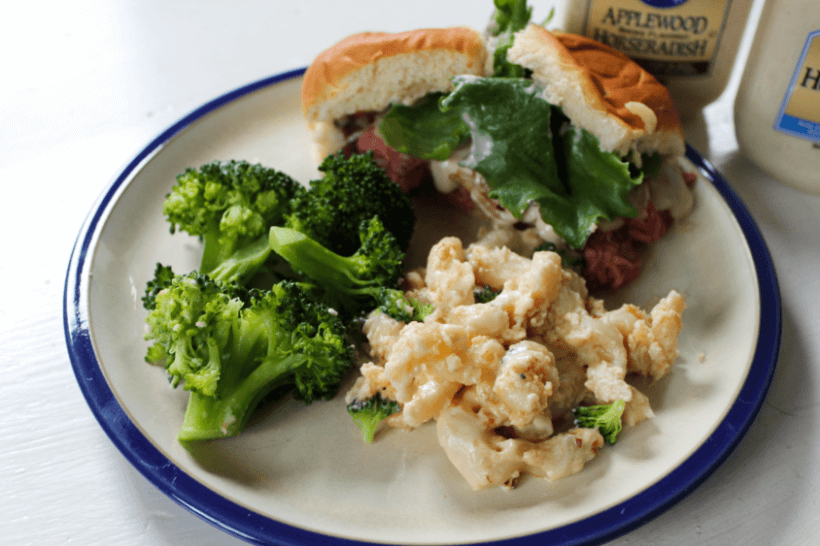 Steak and cheese slider with broccoli and mac and cheese