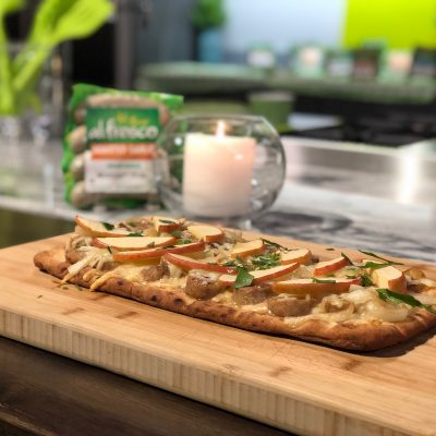 Easy Weeknight Meal ~ Chicken Apple Sausage Flatbread