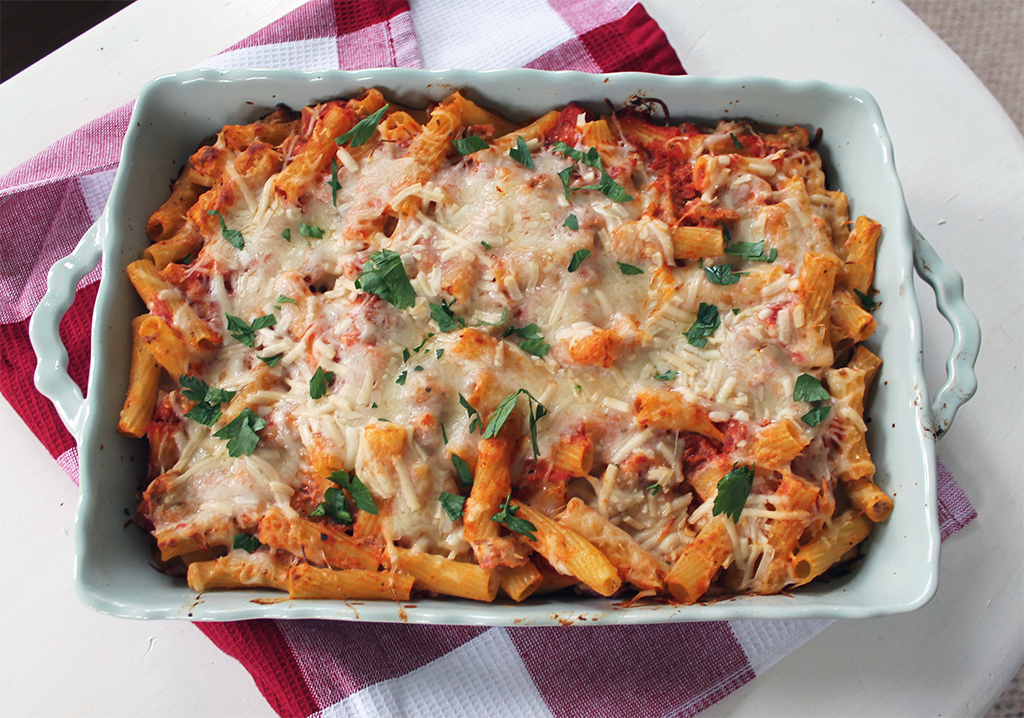 Chicken Sausage Ziti Bake