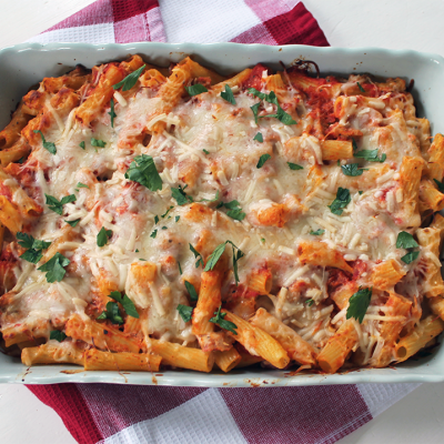 Easy Weeknight Meal ~ Chicken Sausage Ziti Bake